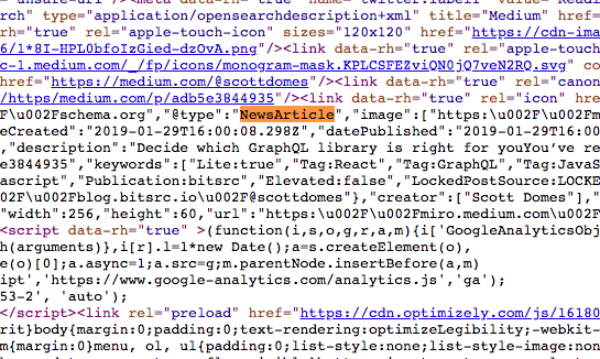"medium.com's default shema.org structured data is @type:""newsArticle"", as shown in this screenshot"