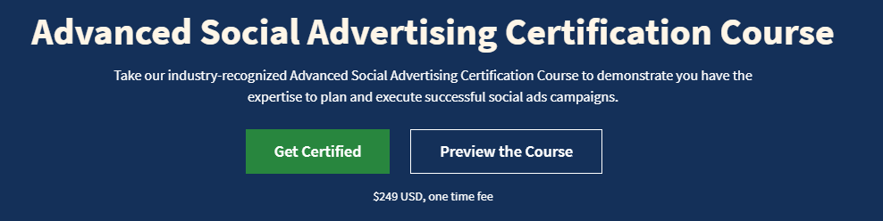 Advanced Social Advertising Certification Course