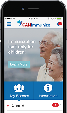 "image of and iphone depicting an elderly couple saying ""immunization isn't only for children!"""