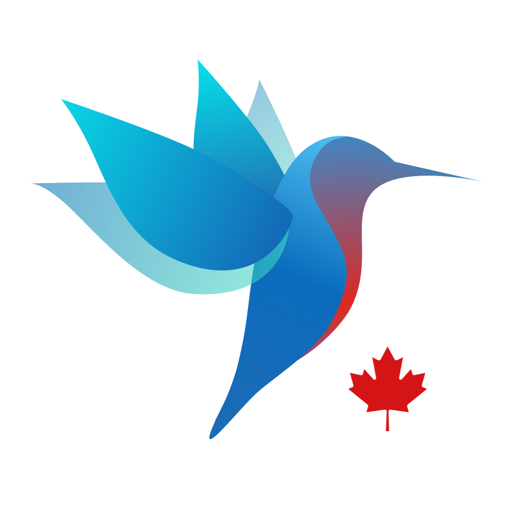 app icon depicting the canimmunize hummingbird and a canadian maple leaf