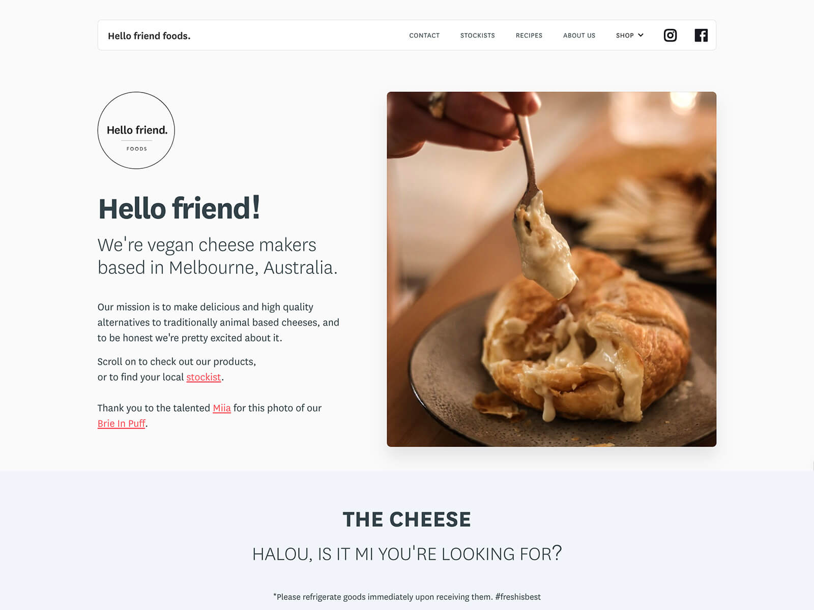 Website design and build in Webflow for vegan cheese makers, Hello Friend Foods