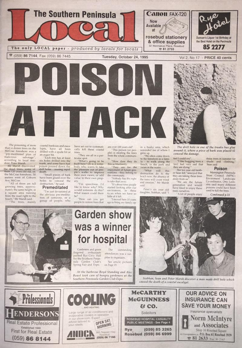 Photo of Local Newspaper front cover. Main story shows Seán Marsh and his family pointing at a poisoned beach front tree.