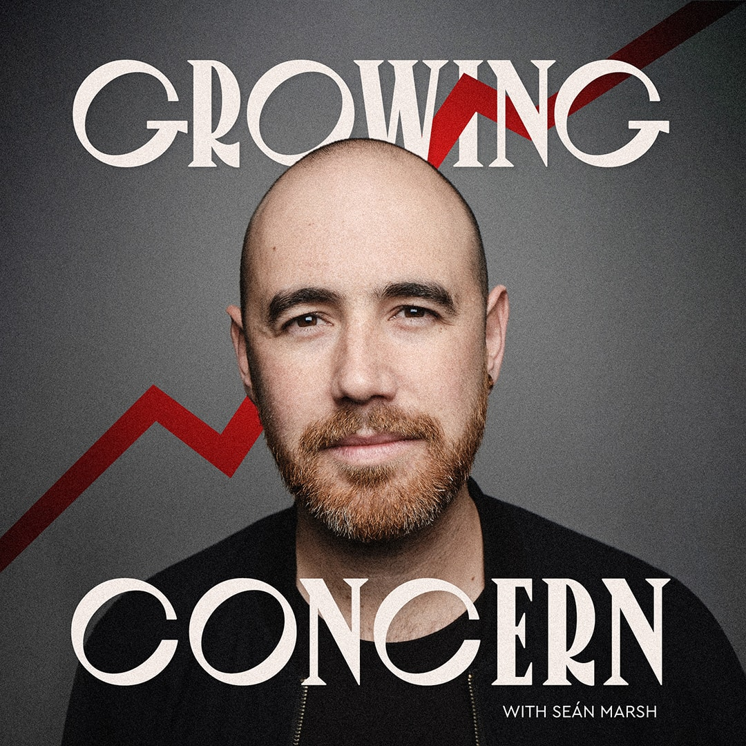 Cover art for the Growing Concern podcast. Shows photo of Sean Marsh with red chart line behind him.