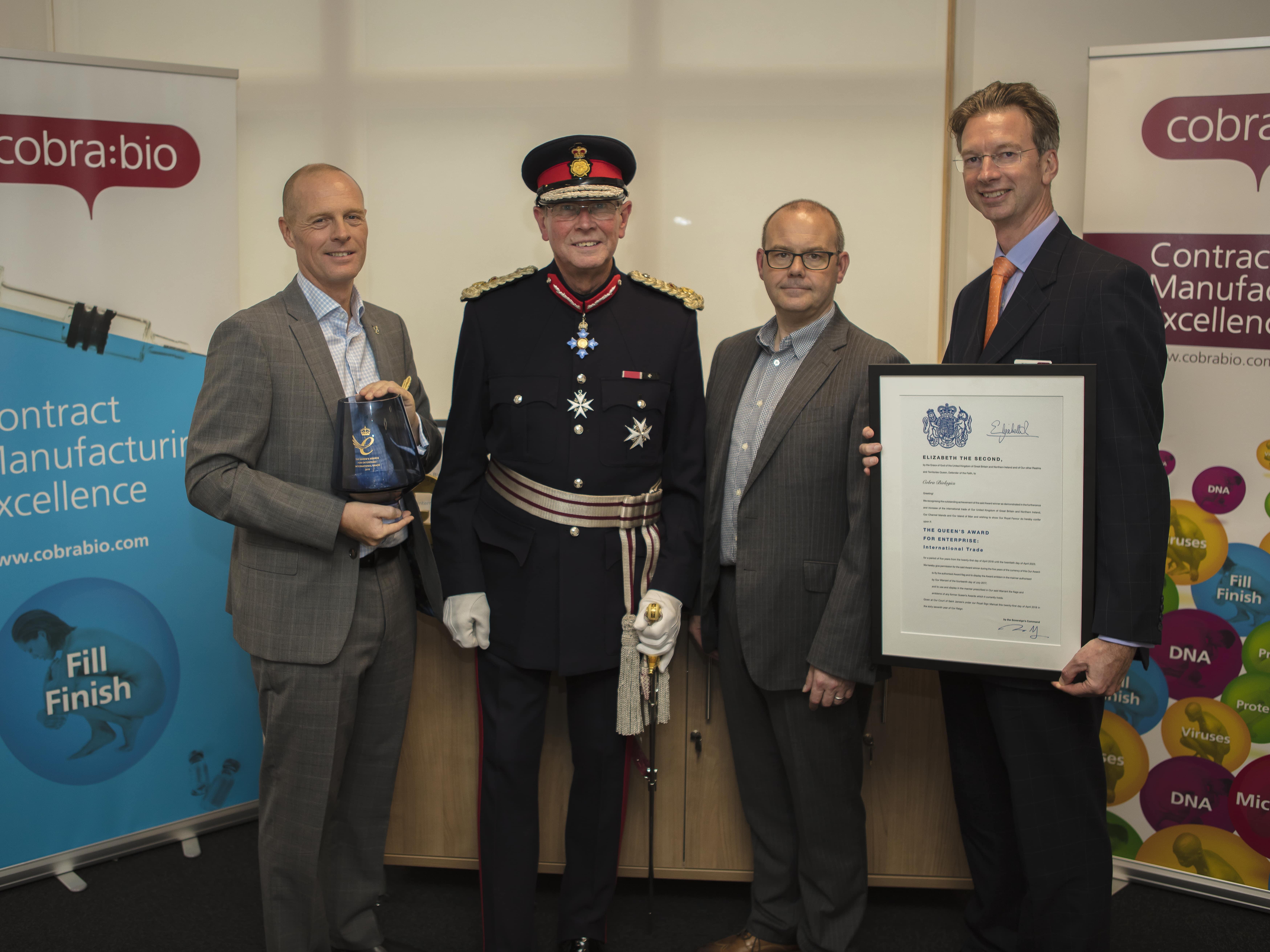Cobra Biologics Celebrates the Queen's Award for Enterprise in International Trade