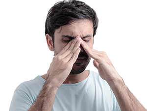 Man experiencing sinus pain relief, Sinusitis Symptoms, Pressure, Swelling