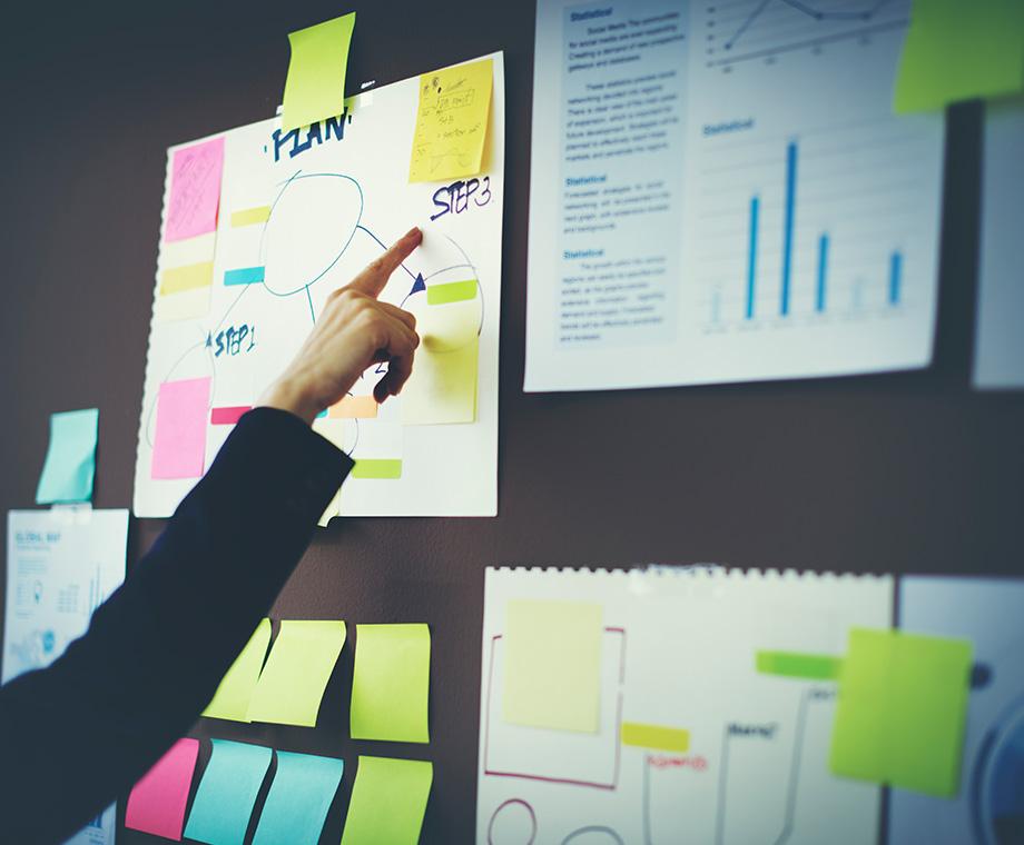 planning digital marketing services on whiteboard