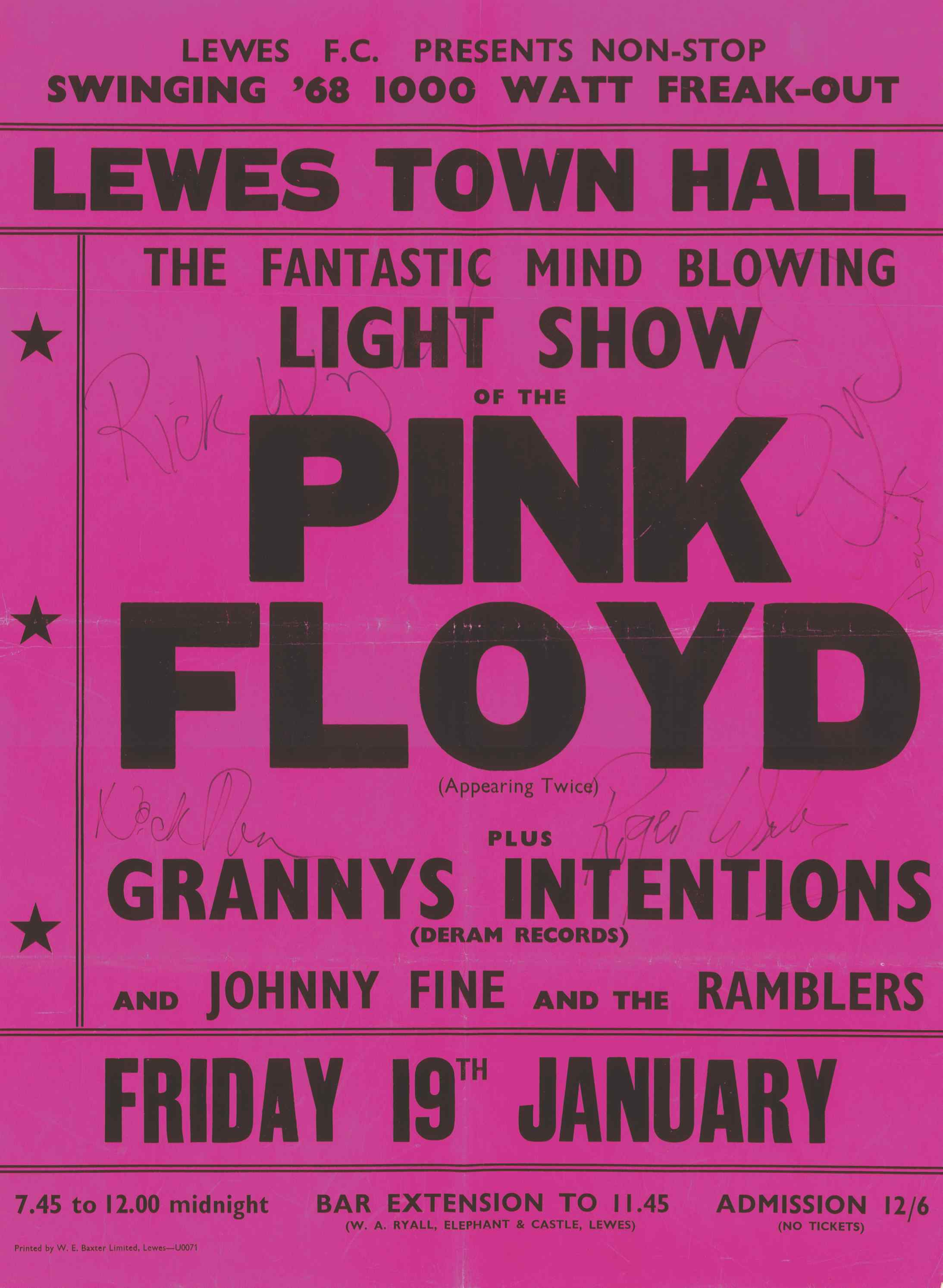Original 1968 poster for Pink Floyd's gig at Lewes Town Hall