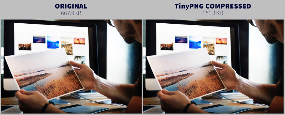Comparing compressed and uncompressed images from TinyPNG