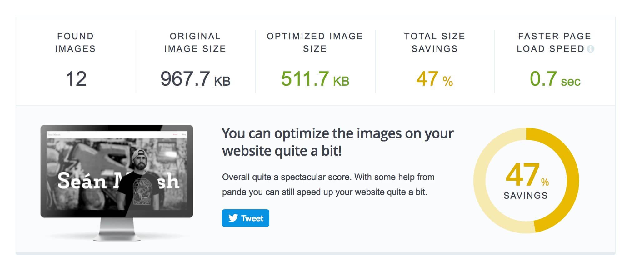 TinyPNG website optimisation analyser tool