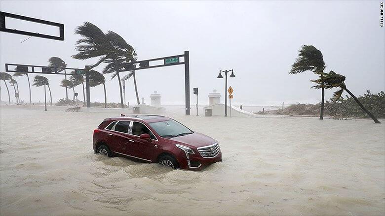 Car stuck in Florida hurricane Irma