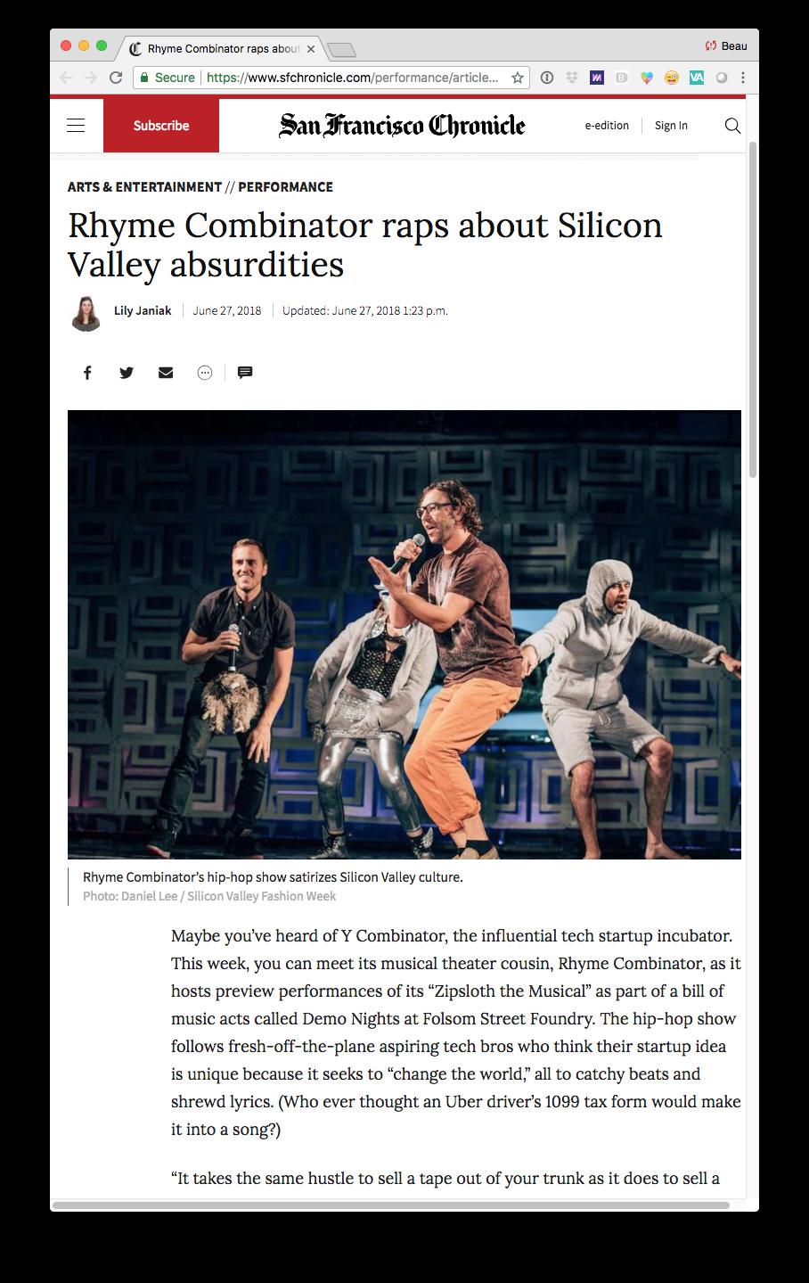 Rhyme Combinator Press San Francisco Chronicle