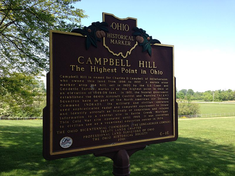 Campbell Hill hilltop sign