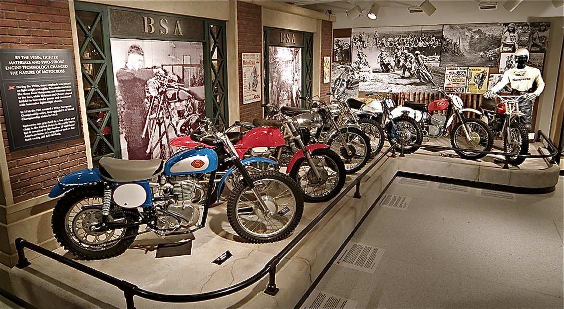motorcycles on display at the motorcycle hall of fame