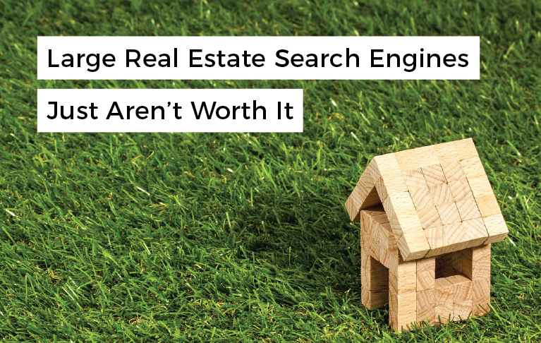 "miniature house made out of wooden blocks with overlaying text that reads ""large real estate search engines just aren't worth it"""