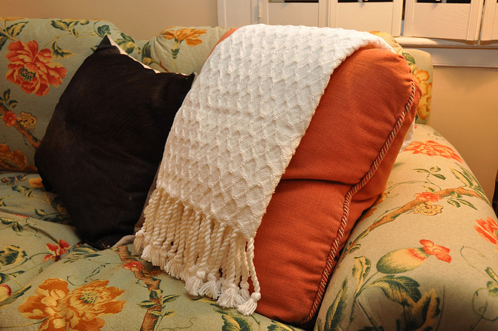throw blanket on a couch