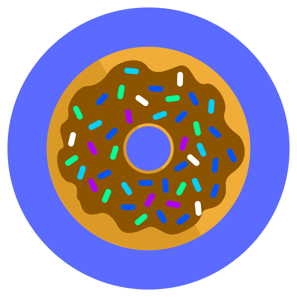 icon donut with chocolate icing and sprinkles