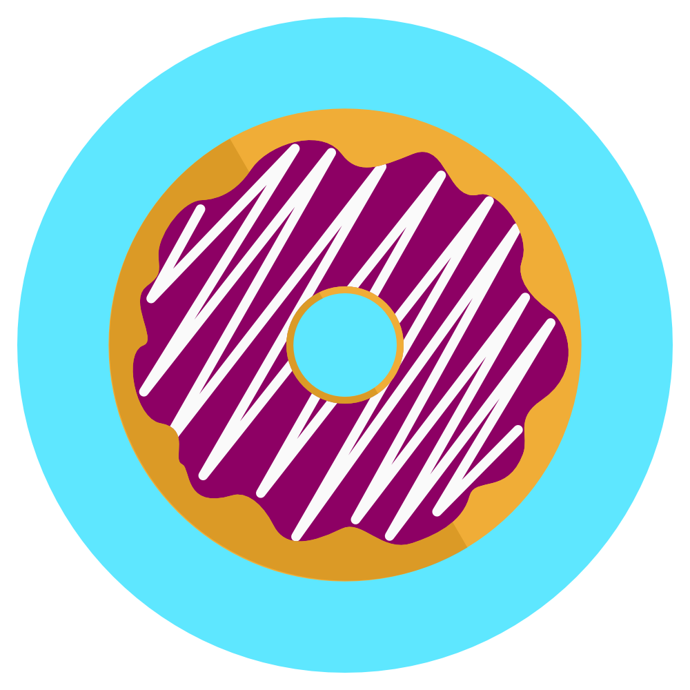 icon donut with berry icing and white drizzle