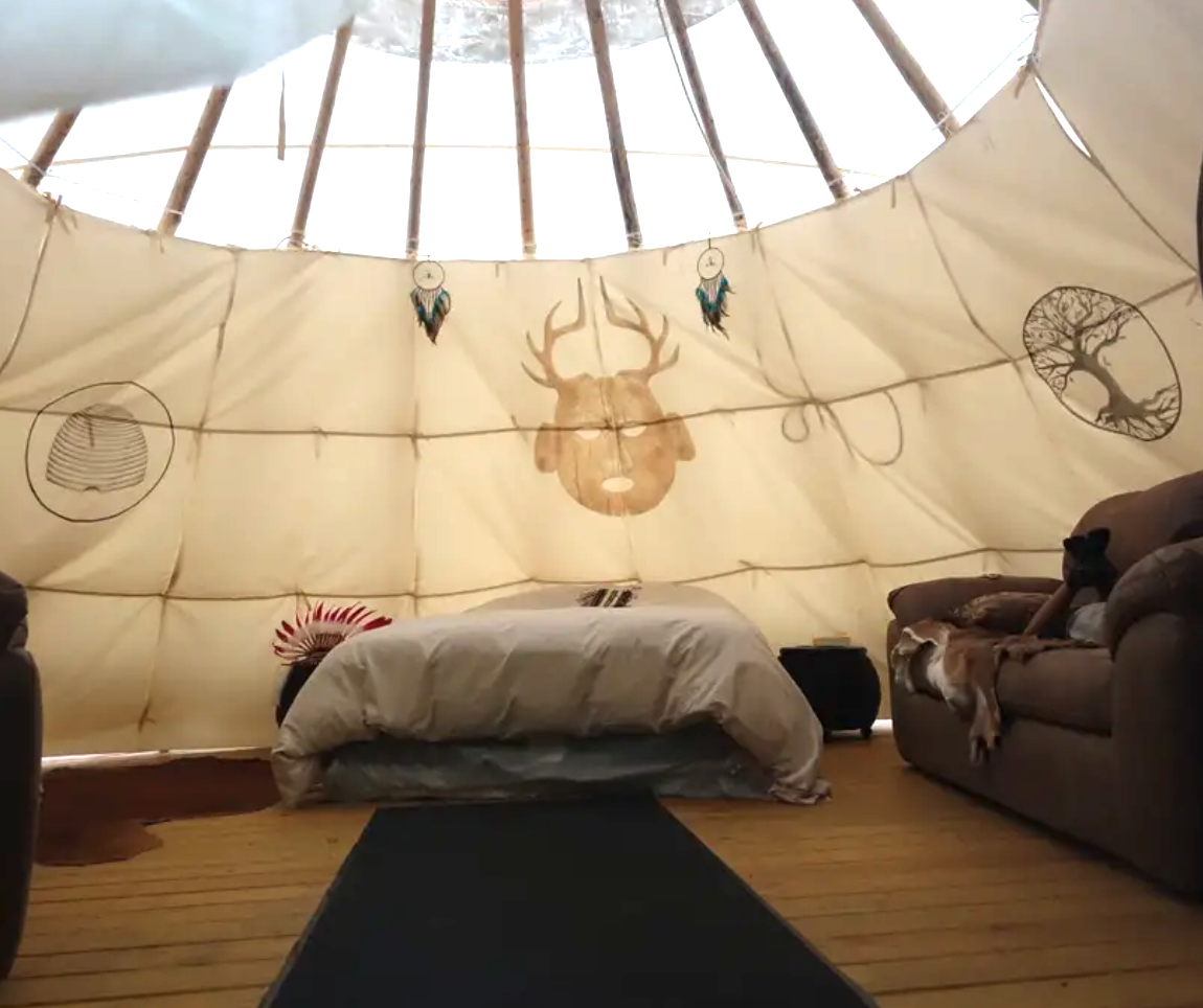 inside of Ohio teepee