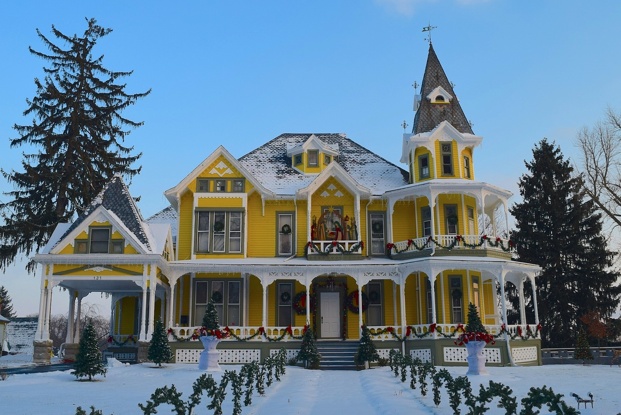 beautiful, large home decorated for the holidays