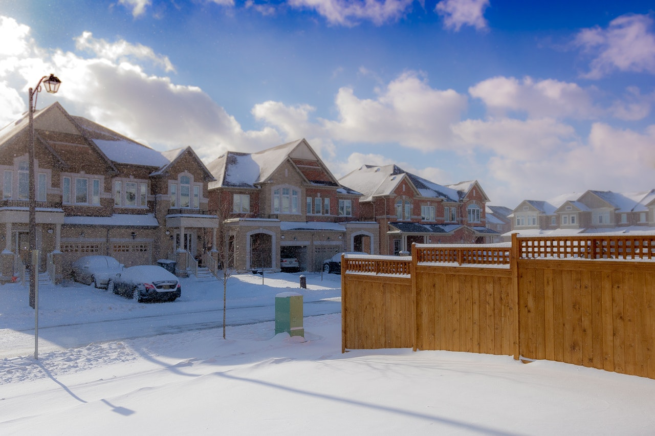 beautiful homes in housing complex in snowy weather