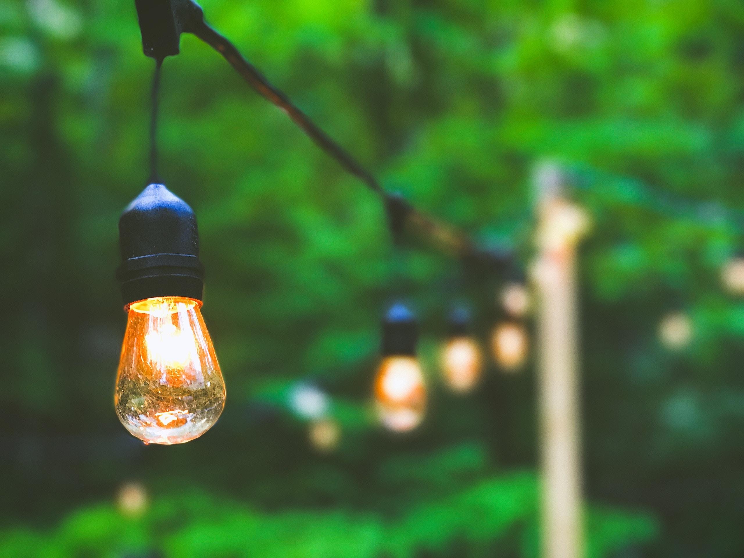 whimsical outdoor Edison bulb lighting