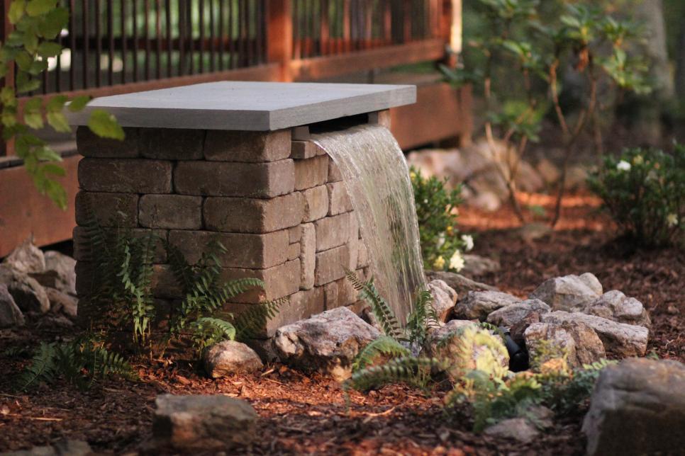 modern backyard DIY fountain