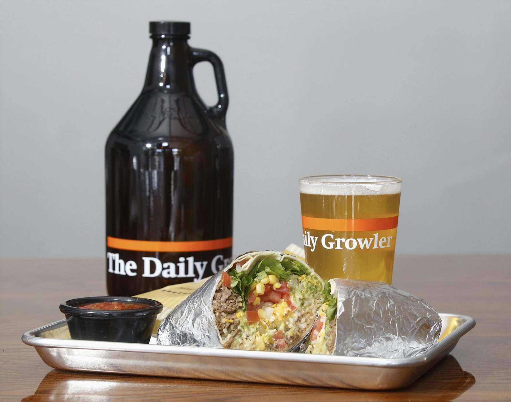 beer & wrap from the Daily Growler