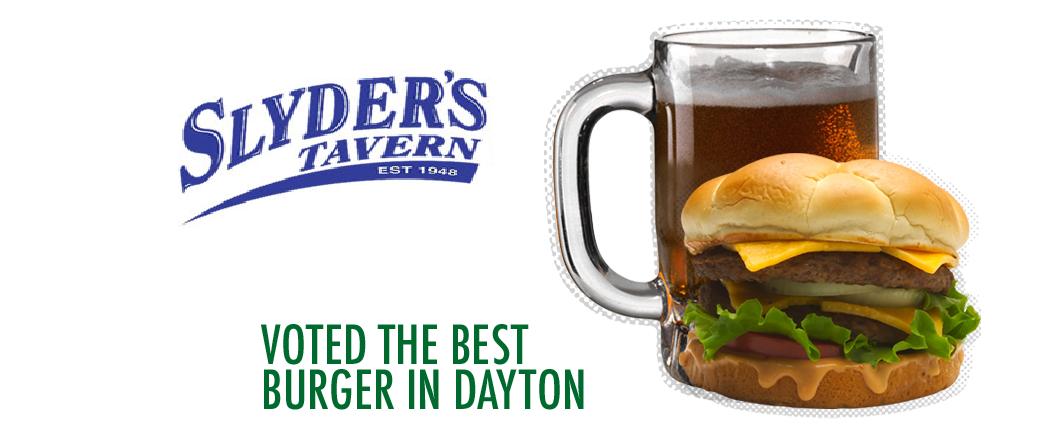 Slyder's Tavern logo with beer filled mug & the best burger in Dayton