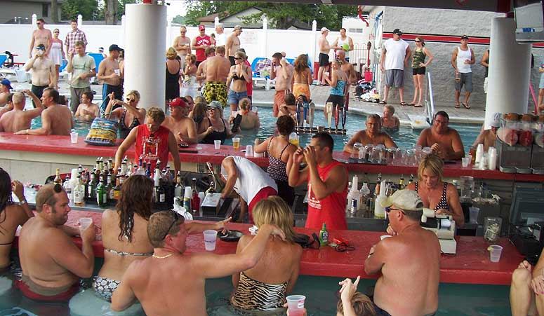 man people gather at Froggy's bar on Indian Lake