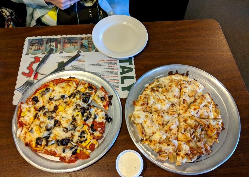 Pizza on table at La Pizzeria in Huntsville Ohio