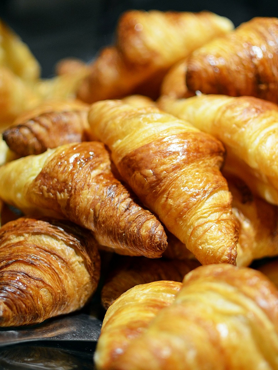 close-up of delicious looking croissants