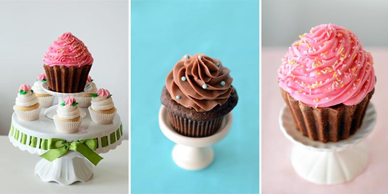 three colorful cupcakes