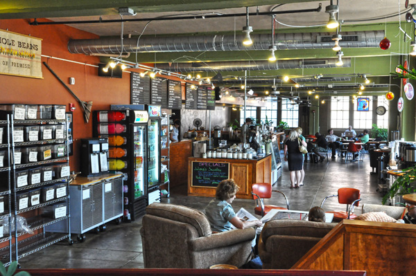 The modern interior of Coffee Emporium's cafe in downtown Cincinnati, Ohio