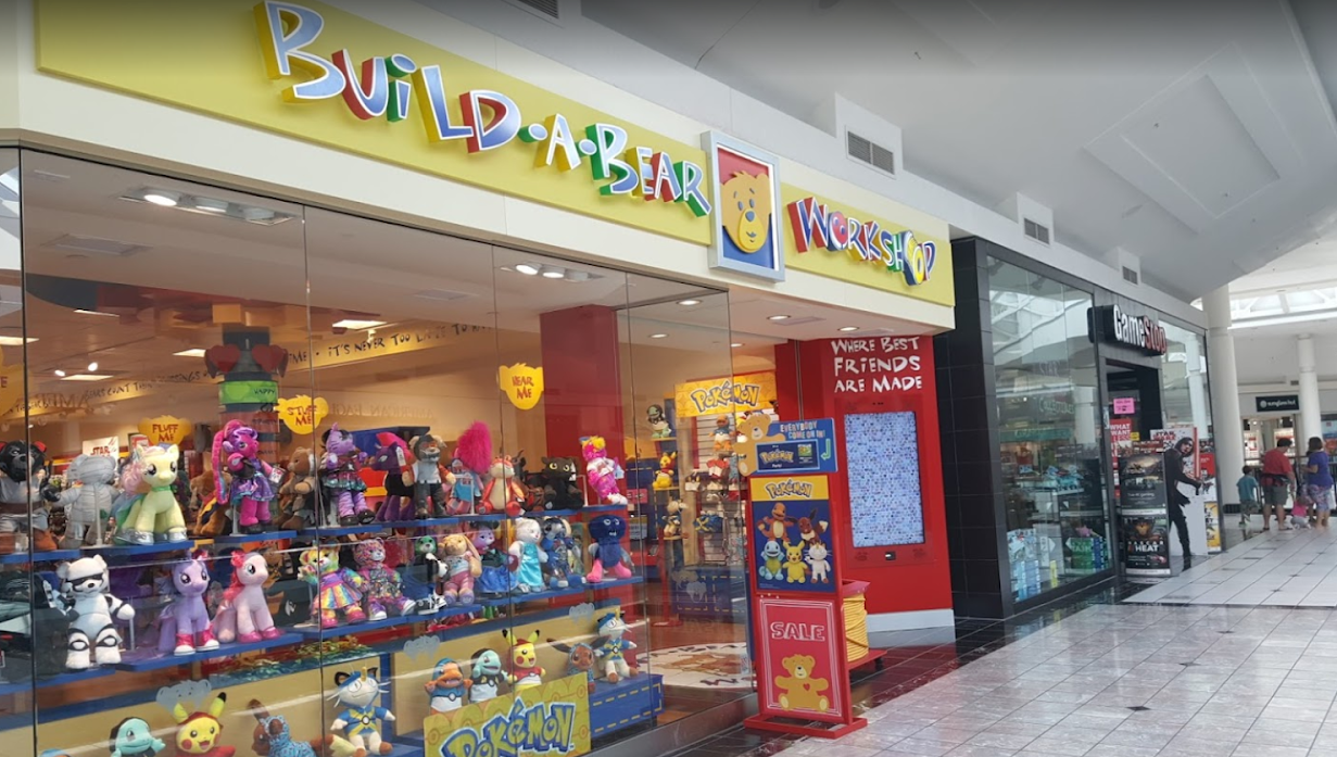 Display window of Build-a-Bear Workshop and front entrance inside a shopping mall