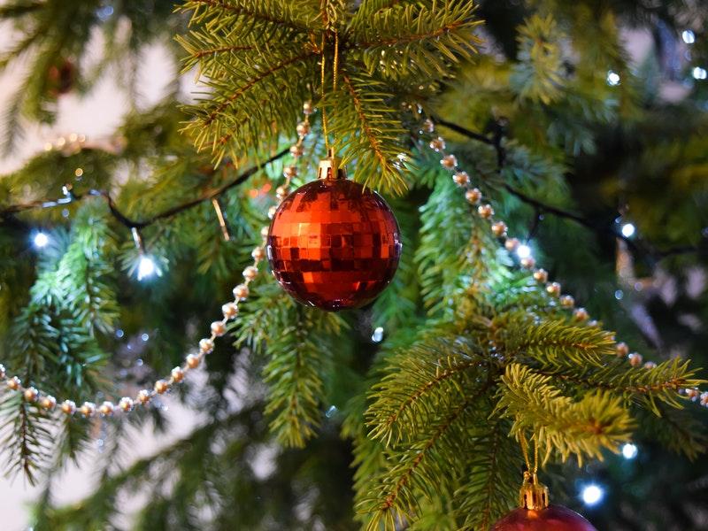 christmas ornament hanging on christmas tree