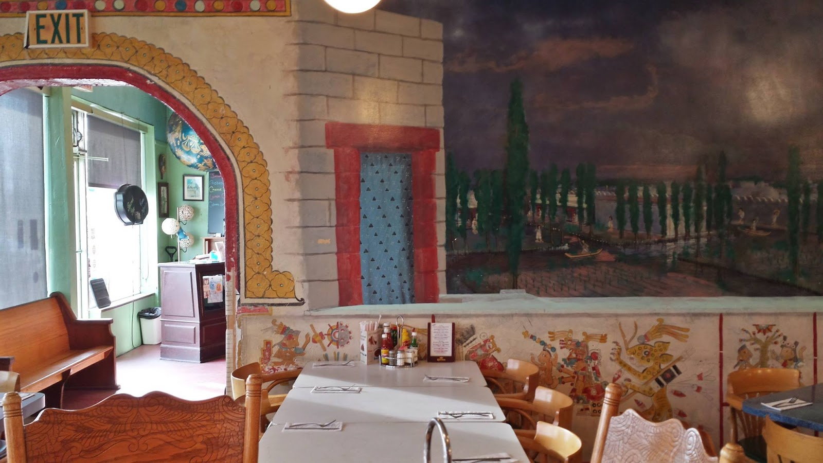 Starliner Diner interior with paintings on the walls