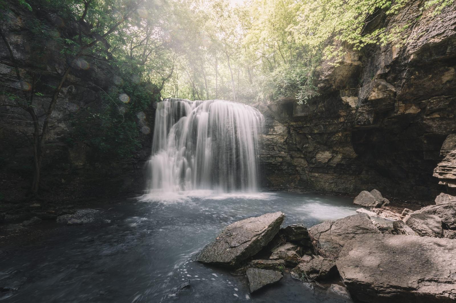 beautiful waterfall in a cavern