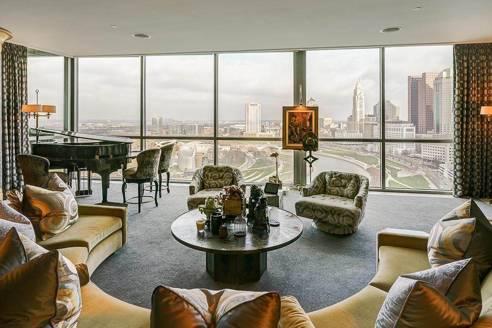 a nice living room with an amazing view