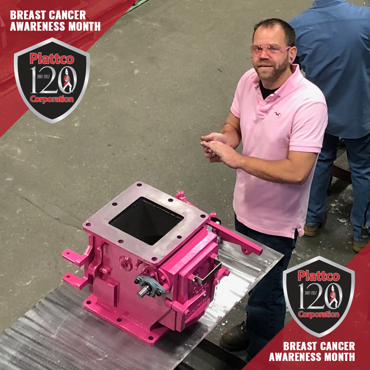 Plattco staff wearing pink