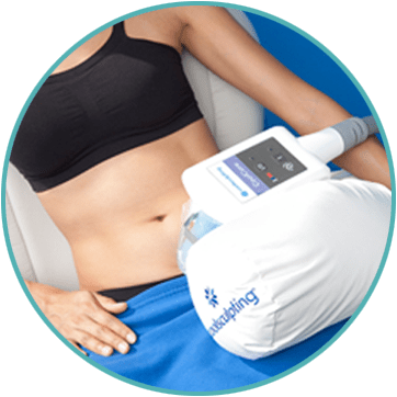 a woman receiving a coolsculpting treatment