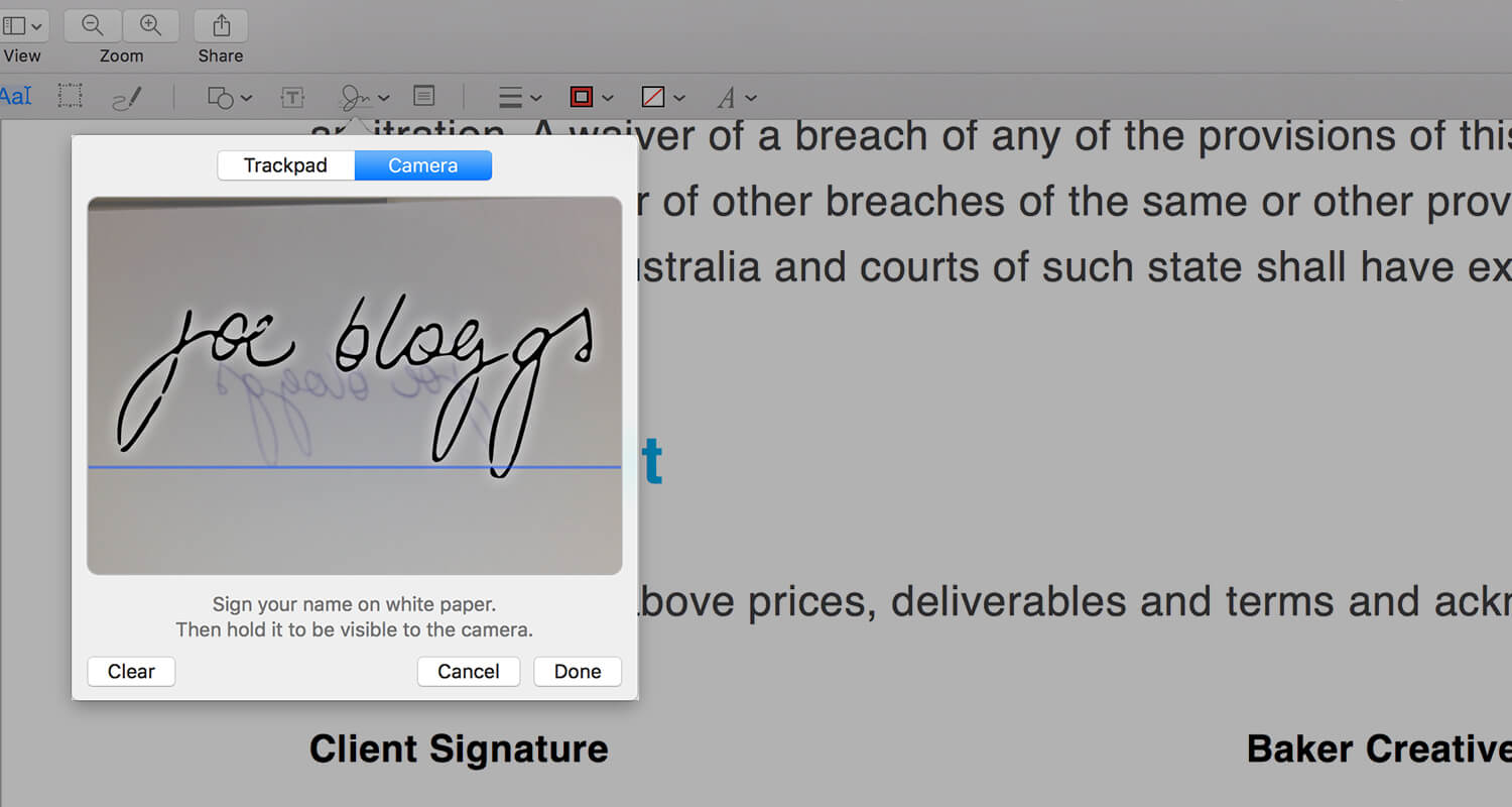 Preview Application - Signing using webcam