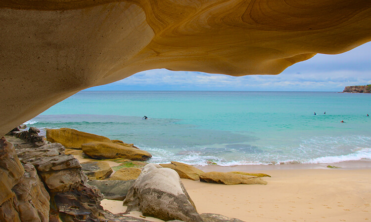 Beach and sandstone rock
