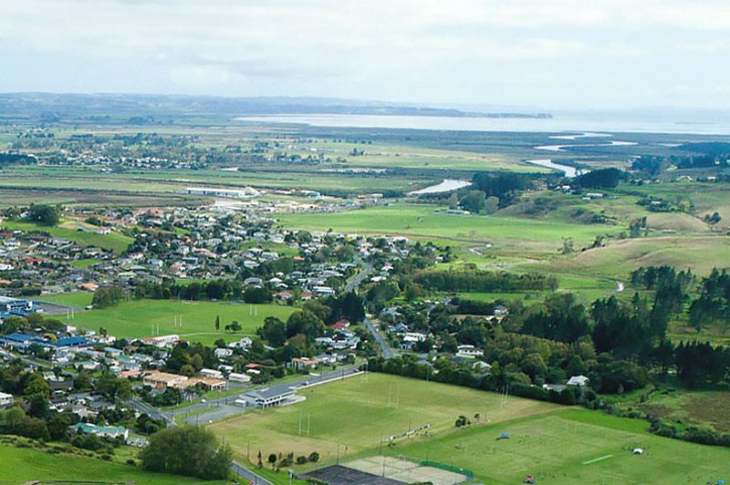 An aerial view of the outlook from Parkview Helensville