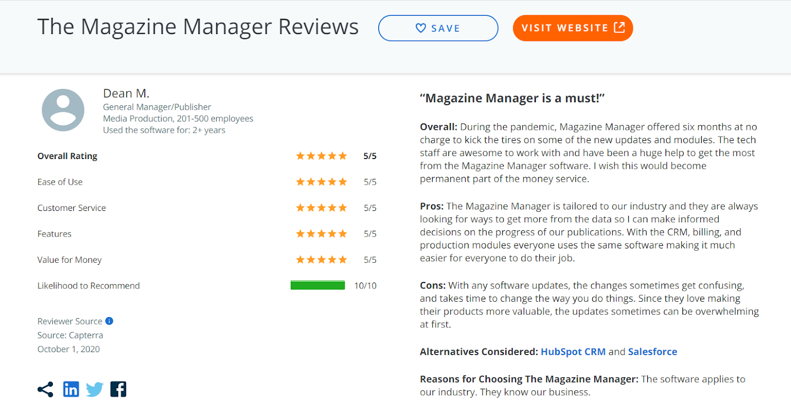 An example review of The Magazine Manager from Capterra, a product review site