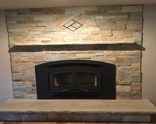 EX90 Fireplace Insert with customized stone work, hearth and mantel