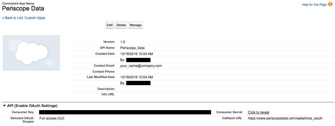 Connecting Salesforce | Periscope Data Docs