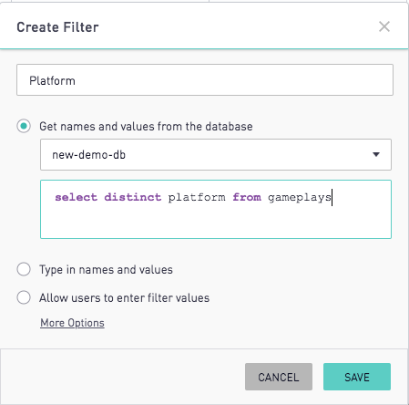 Custom Filters | Periscope Data Docs