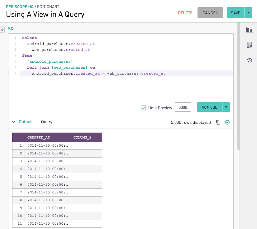 Using a View in a Query | Periscope Data Docs