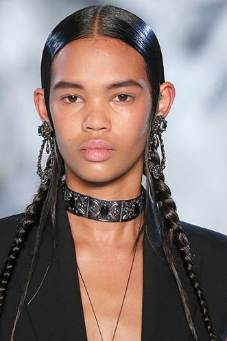 Alexander McQueen slick hair in plaits