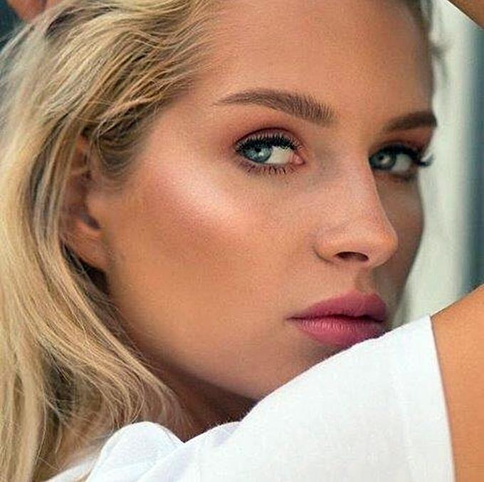Caucasian model with pretty eyelashes